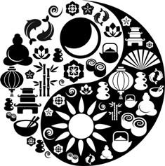 מגוון סמלים מהמזרח משולבים ביין ויאנג