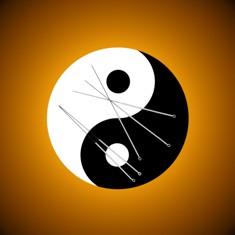 מחטי דיקור על רקע הסמל יין ויאנג